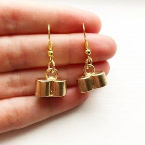 Chic & dainty gold tube drop earrings